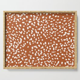 Rust dots - painted dots, terracotta, clay, earth, earth toned, boho, brown, brown dots, rust orange, painted dots Serving Tray