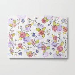 blueberries & roses Metal Print