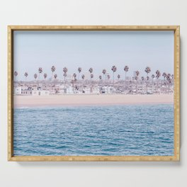 Vintage Newport Beach Print {3 of 4} | Photography Ocean Palm Trees Cool Blue Tropical Summer Sky Serving Tray