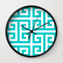 Large Caribbean Blue Greek Key Pattern Wall Clock