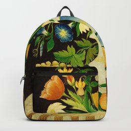 Still Life With Fruit & Flowers, American 19th Century Backpack