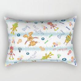 Cute Robots- Blue White Stripes Rectangular Pillow