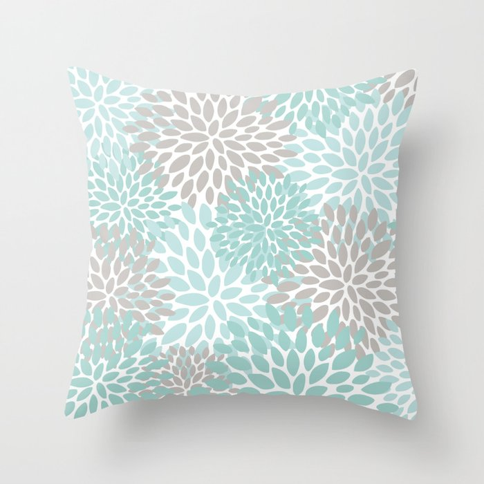 Floral Pattern, Teal, Aqua, Turquoise,Gray Throw Pillow by