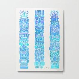 Tiki Totems – Turquoise Palette Metal Print