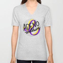 ADENO Warrior - Adenomyosis Awareness Art - Advocate Unisex V-Neck