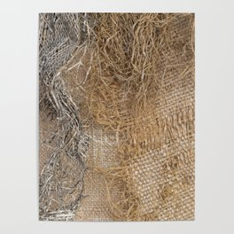 textured jute fabric for background and texture Poster