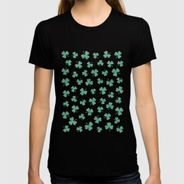 DANCING SHAMROCKS on green T-shirt