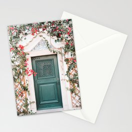 Green Door Surrounded by Flowers in Cascais, Portugal | Travel Photography | Stationery Cards