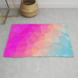 Dark Pink, Peach and Cyan Geometric Abstract Triangle Pattern Design  Rug