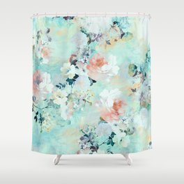 Modern pink turquoise floral watercolor pattern  Shower Curtain