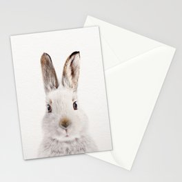 White Bunny, Baby Animals Art Print By Synplus Stationery Cards