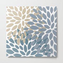 Modern Floral Print Art, Teal, Gray and Beige Metal Print
