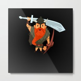 Funny Viking Warrior Metal Print