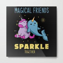 narwhal, narwhal cute animal, narwhal rainbow Metal Print