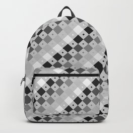 Black, Gray, White Diamond Tonal Wave Backpack