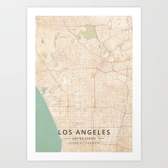 Los Angeles, United States - Vintage Map by designermapart