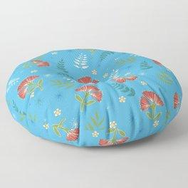 Bright blue New Zealand plant pattern Floor Pillow