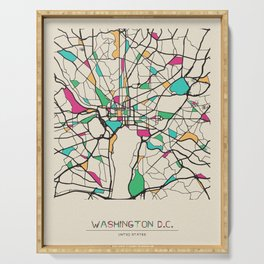 Colorful City Maps: Washington, D.C., USA Serving Tray