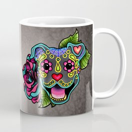 Smiling Pit Bull in Blue - Day of the Dead Pitbull Sugar Skull Coffee Mug