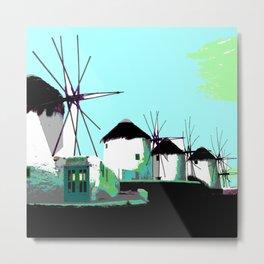 Mykonos windmills Metal Print