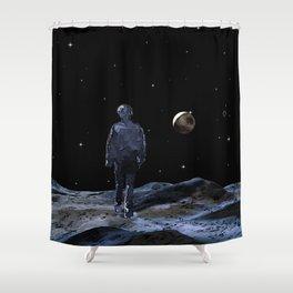 Walking on the Moon - Dark Art Shower Curtain