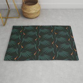 Flying Cranes Green Pattern Rug