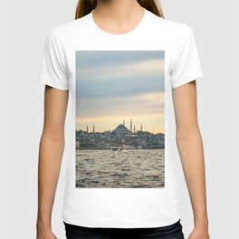Turkish Sunset | Istanbul Turkey City Skyline Landscape Yellow Orange Color Sky Water Waves T-shirt