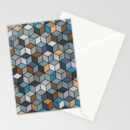 Colorful Concrete Cubes - Blue, Grey, Brown Stationery Cards