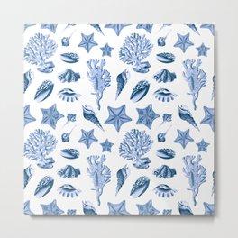 Vintage Sea Life Blue Monochrome Pattern Metal Print