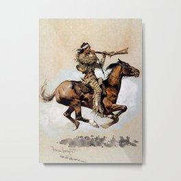 "Frederic Remington ""Buffalo Hunter Spitting Bullets"" Western Art Metal Print"