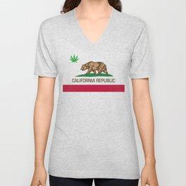 California Republic state flag with green Cannabis leaf Unisex V-Neck