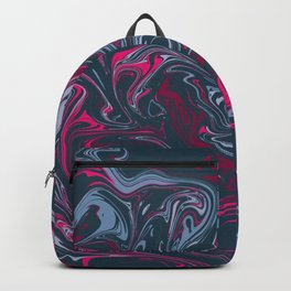 Navy Green Red Pink Neon Marble Abstract Pattern Minimalist Night Sky Green Galaxy  Backpack