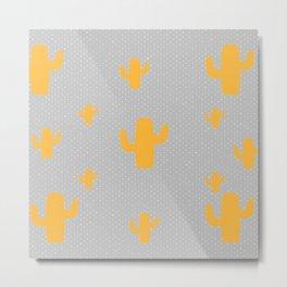 Mustard Cactus White Poka Dots in Gray Background Pattern Metal Print