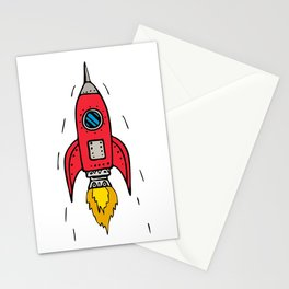 Vintage Rocket Ship Blasting Off Drawing Stationery Cards