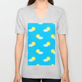 Sun and Clouds Pattern 2 - Blue Unisex V-Neck