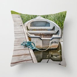 Moored row boat Throw Pillow