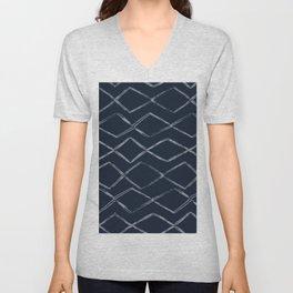 Dark Navy Blue Bohemian Tribal Mud Cloth Chevron Horizontal Stripe Diamond Pattern Unisex V-Neck