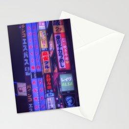 Neon kanji in tokyo Stationery Cards