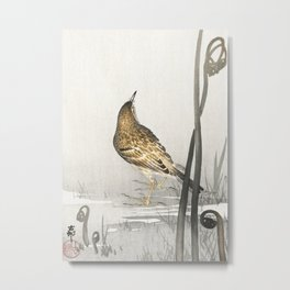 Ohara Koson, Pipit Near Lake - Vintage Japanese Woodblock Print Metal Print