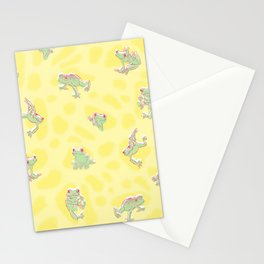 Froggy Frog green yellow peepers Stationery Cards