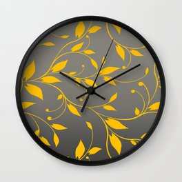FLOWERY VINES | grey yellow Wall Clock