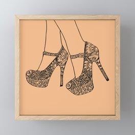 Mandala woman's shoes, high heels zentangle style, fashion art prints, printable wall art Framed Mini Art Print