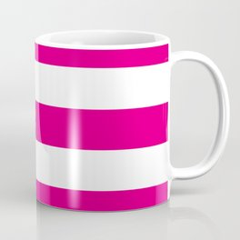 Mexican pink -  solid color - white stripes pattern Coffee Mug