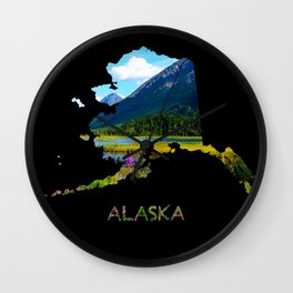 Alaska Outline - God's Country Wall Clock