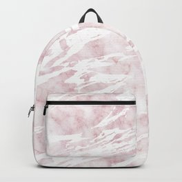 Girly Pink and White Modern Marble Backpack