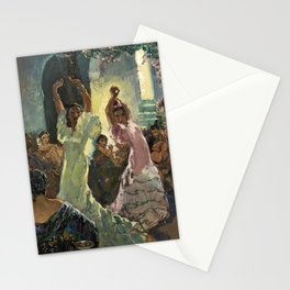 'Scène de Flamenco à Seville' by Jose Herrerilla Cruz Stationery Cards