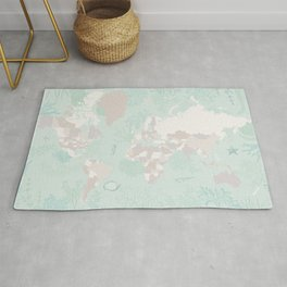 """World map with coral, seaweed and marine creatures, """"Lenore"""" Rug"""