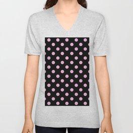 Polka Dots (Pink & Black Pattern) Unisex V-Neck