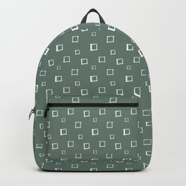 Hand Drawn Abstract Square Pattern - Viridian Green Backpack