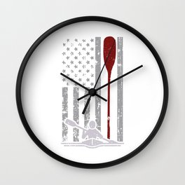 Rowing American Flag Canoe Paddle Gift Wall Clock
